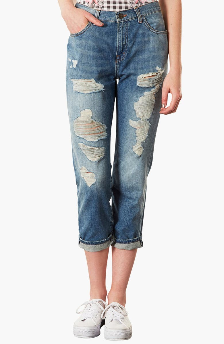 TOPSHOP Moto 'Kevin' Ripped Boyfriend Jeans, Main, color, 420