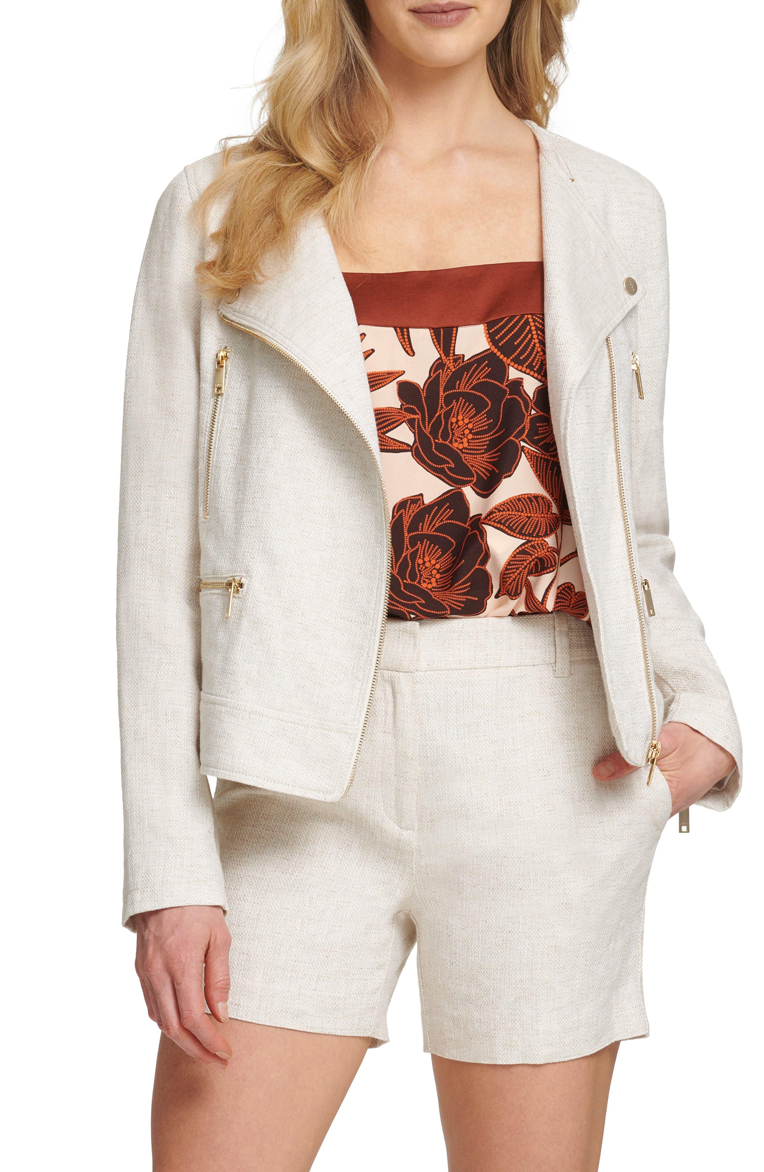 Women's Dkny Sport Linen & Cotton Moto Jacket