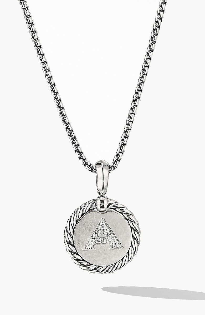 DAVID YURMAN Initial Charm Necklace with Diamonds, Main, color, SILVER/ DIAMOND-A