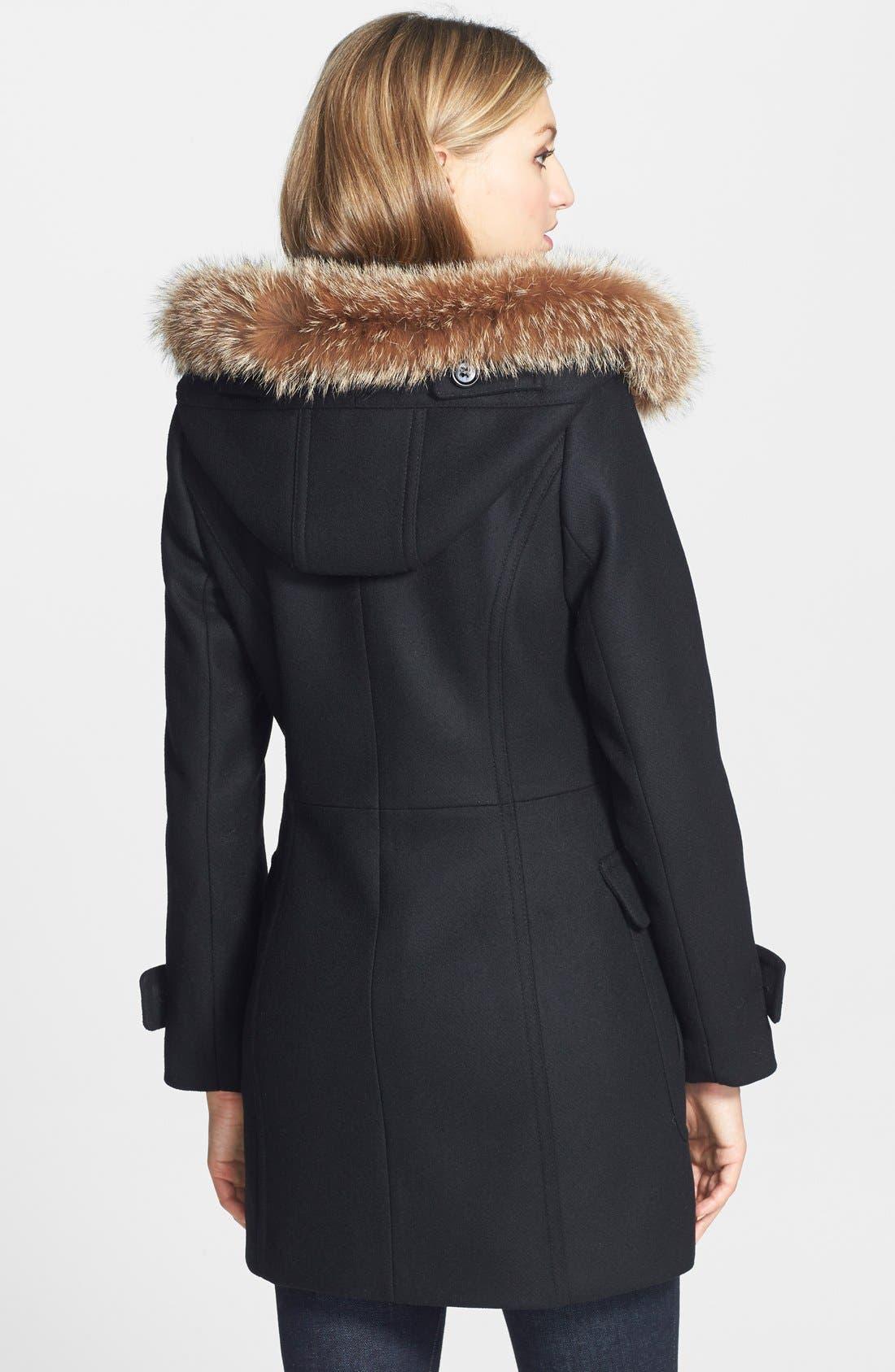 ,                             Genuine Coyote Fur Trim Wool Blend Duffle Coat,                             Alternate thumbnail 2, color,                             001