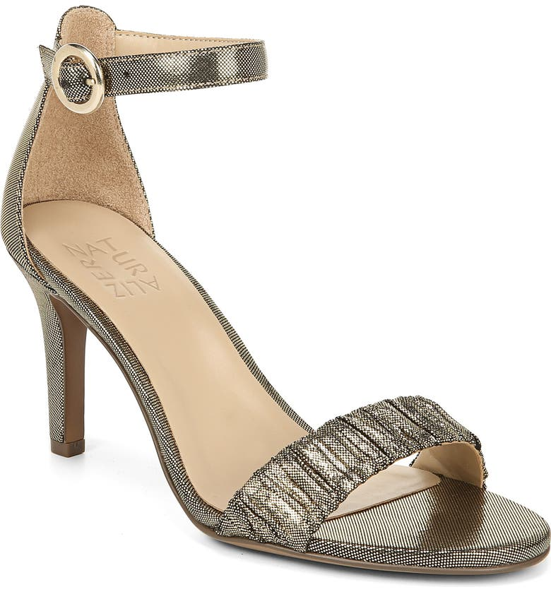 NATURALIZER Kinsley Ankle Strap Sandal, Main, color, GOLD PLEATED FABRIC