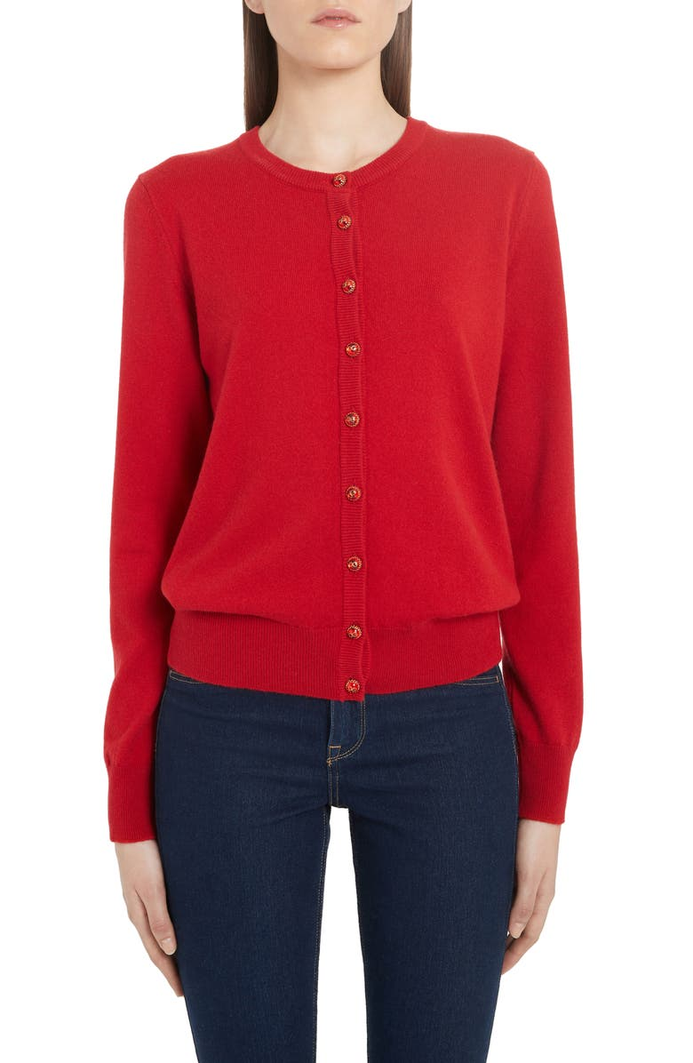 DOLCE&GABBANA Logo Button Cashmere Cardigan, Main, color, BRIGHT RED