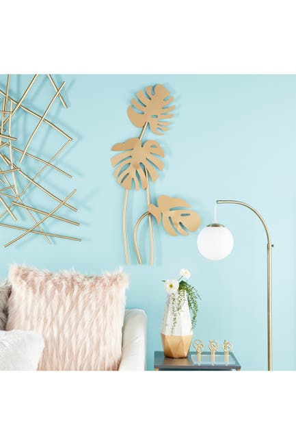 Image of CosmoLiving by Cosmopolitan Large Metallic Gold Metal Palm Leaf Sculptures Wall Decor