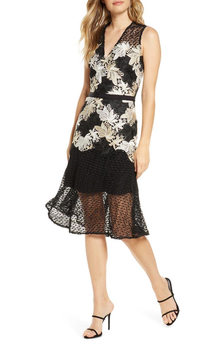 ADELYN RAE Lizette Lace Midi Dress, Main, color, 001