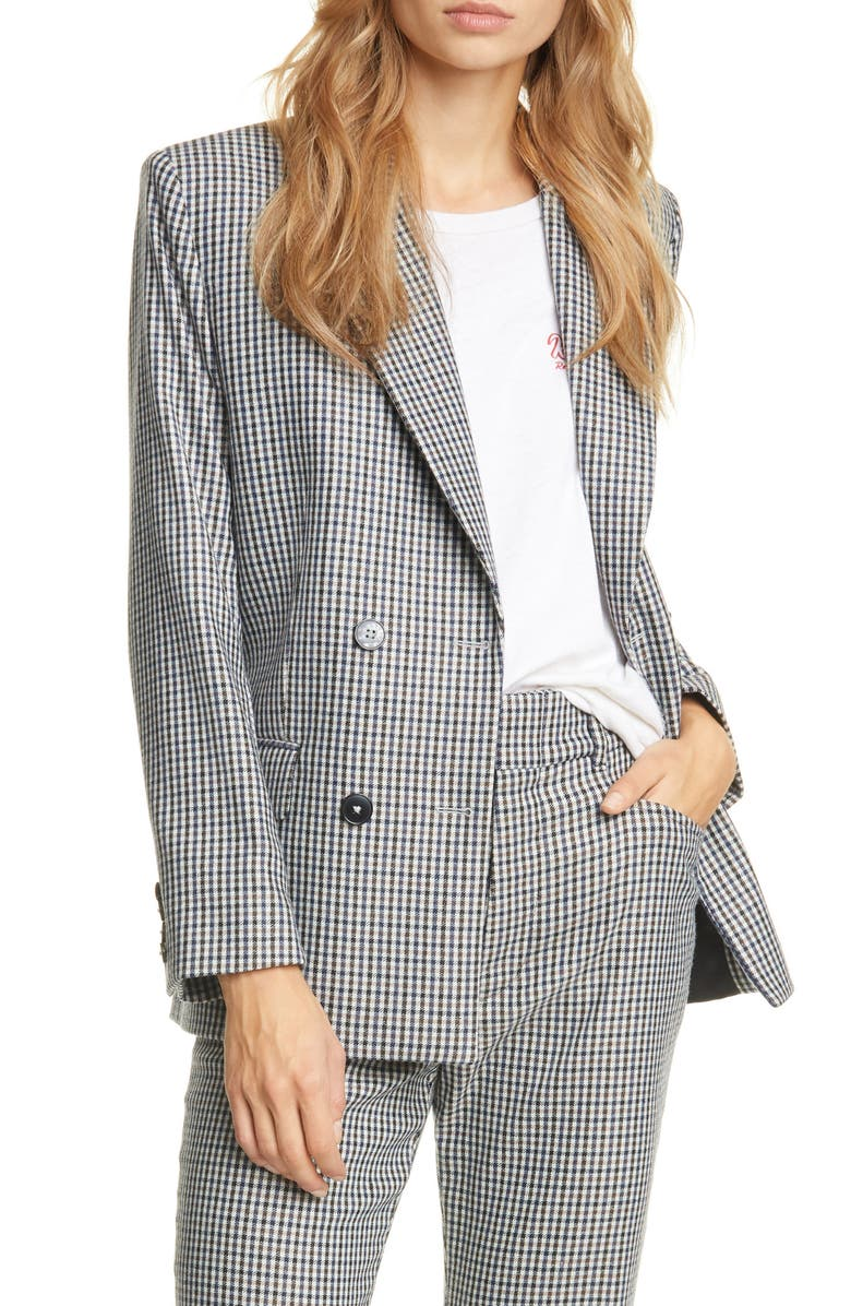 RE/DONE '70s Double Breasted Plaid Blazer, Main, color, CREME/ NAVY PLAID