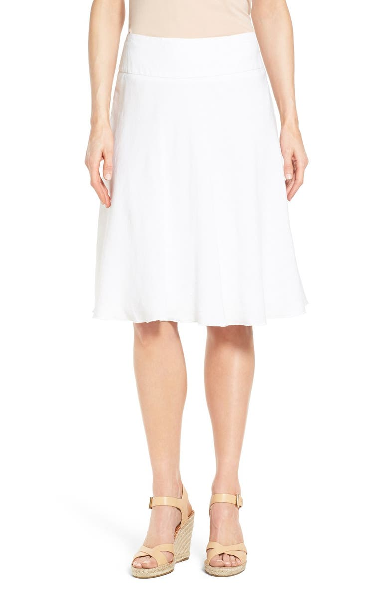 NIC+ZOE Summer Fling Linen Blend Skirt, Main, color, PAPER WHITE