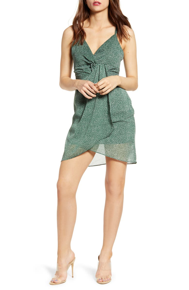 J.O.A. Print Strappy Front Twist Minidress, Main, color, 300