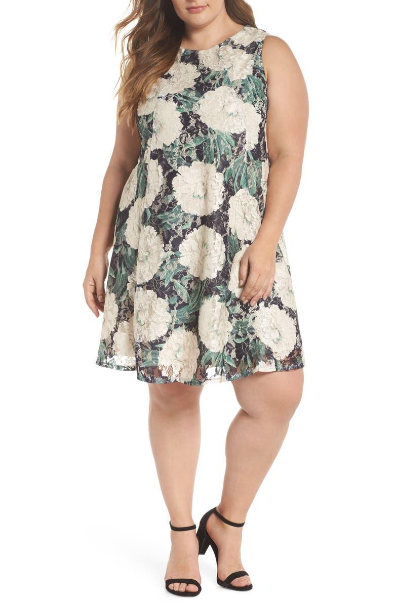 GABBY SKYE Print Lace Trapeze Dress, Main, color, 001