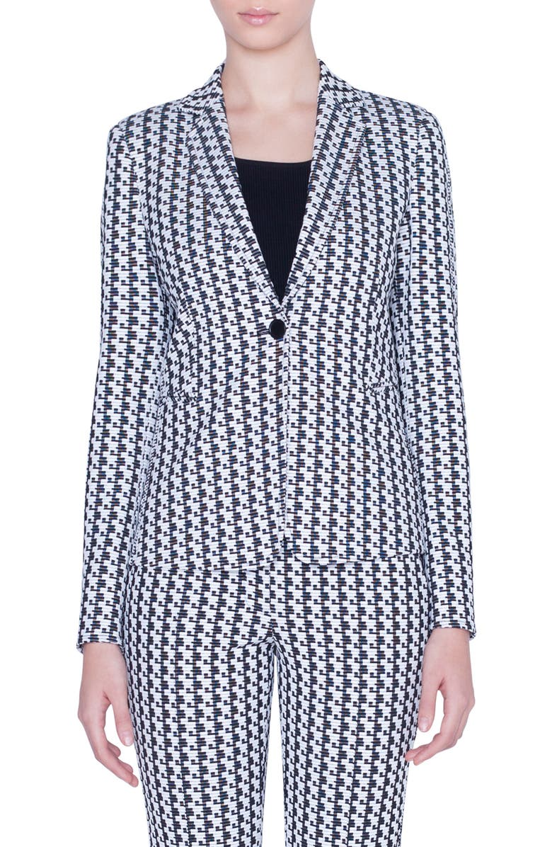 AKRIS PUNTO Soundboard Pattern Jersey Jacket, Main, color, BLACK/ CREAM