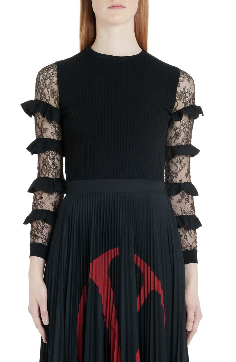 VALENTINO Ruffle Lace Sleeve Sweater, Main, color, 0NO-BLACK