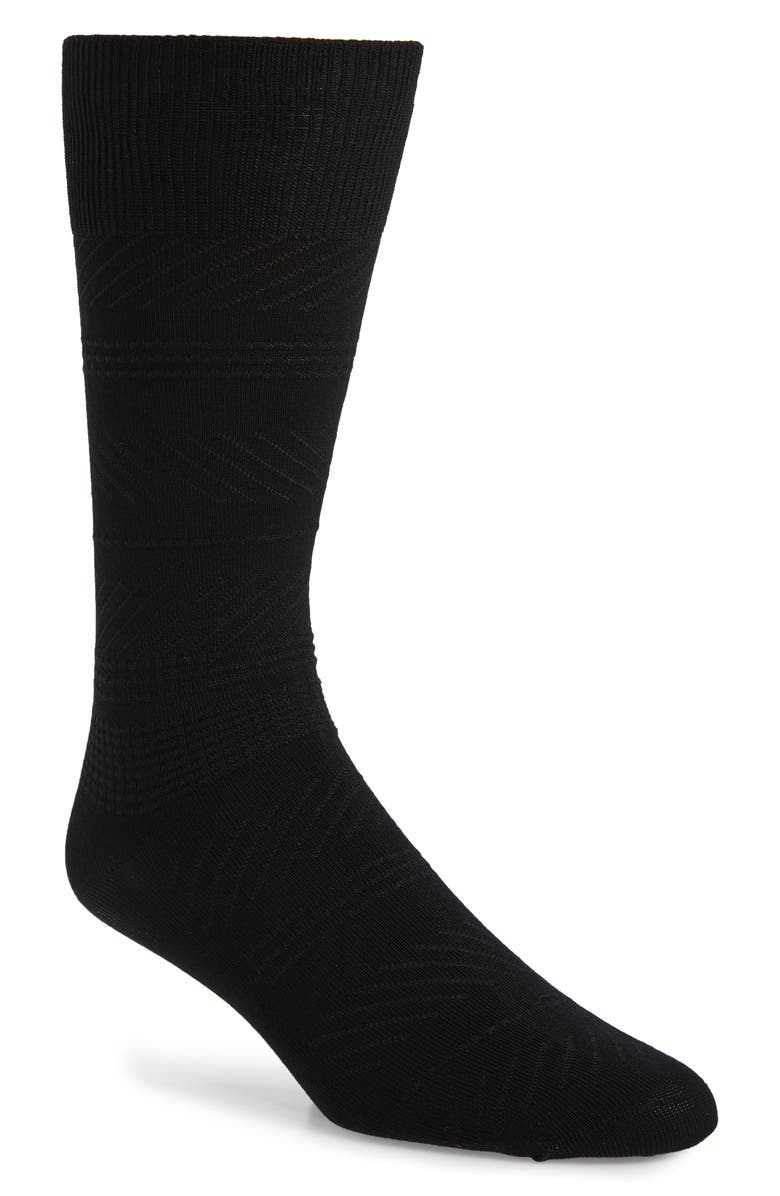 NORDSTROM MEN'S SHOP Geo Texture Dress Socks, Main, color, BLACK