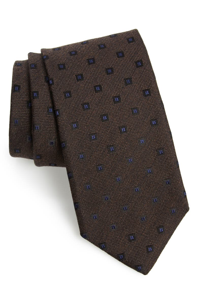 CANALI Medallion Silk & Wool Tie, Main, color, BLUE
