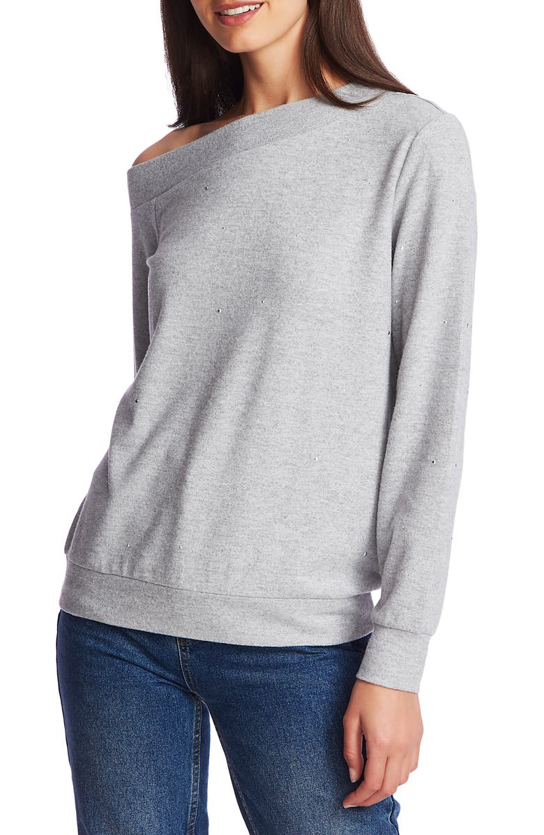 1.STATE Crystal Detail Off the Shoulder Sweater, Main, color, SILVER HTHR