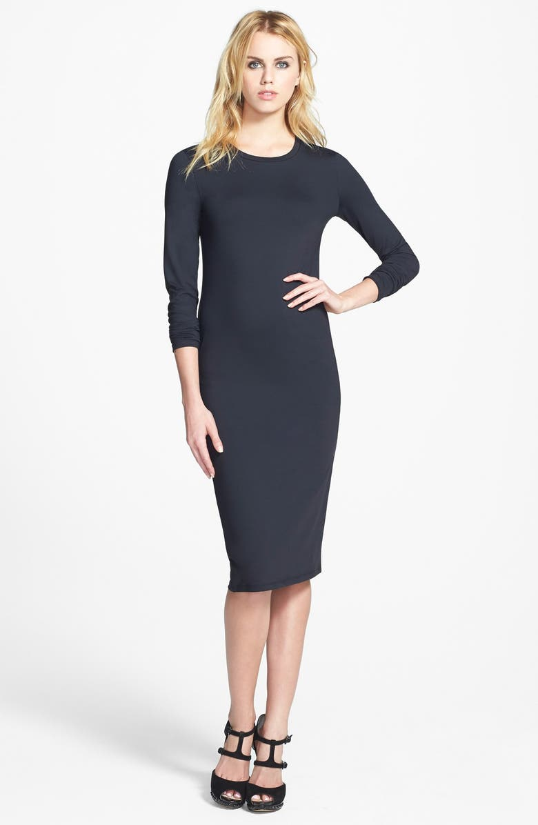 LEITH Long Sleeve Midi Dress, Main, color, 001