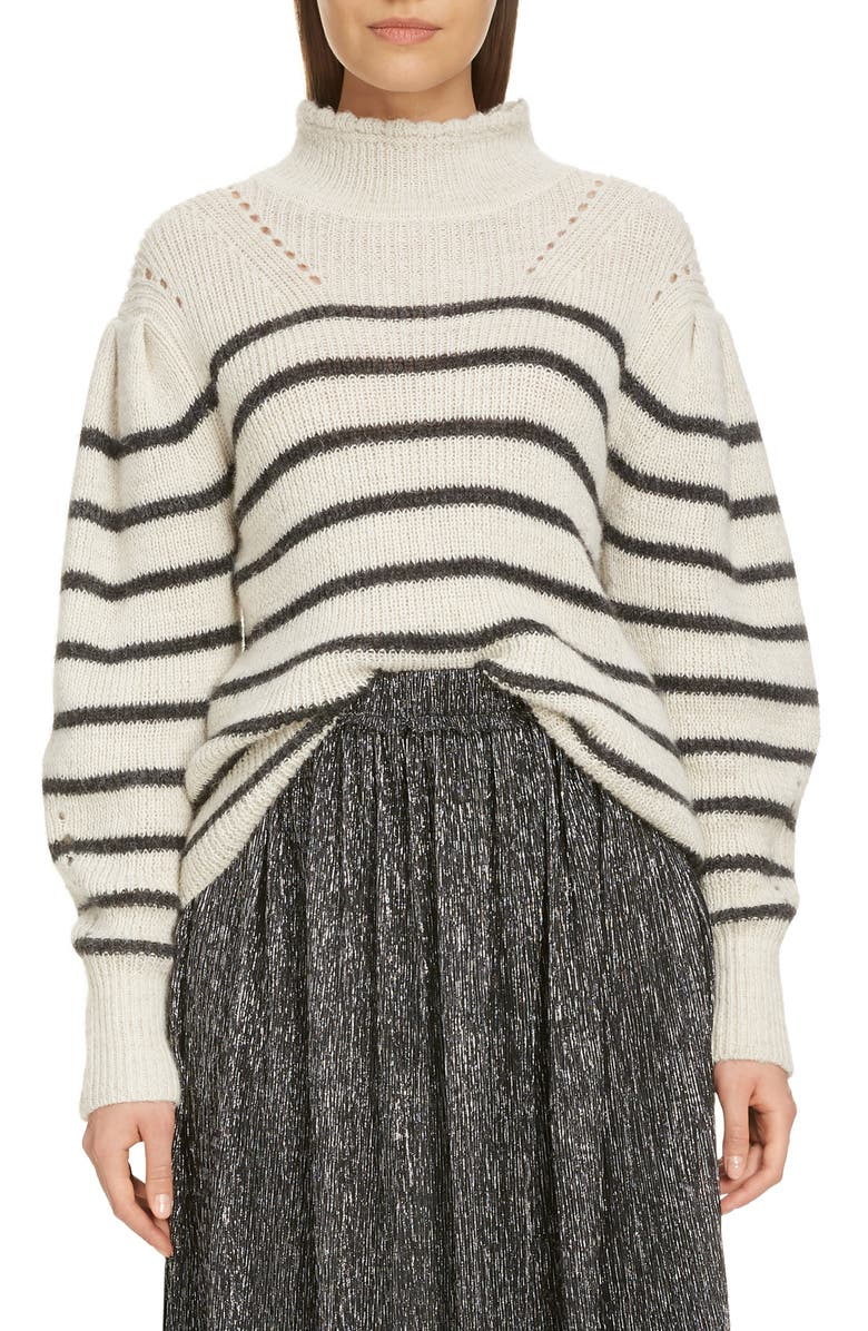 ISABEL MARANT ÉTOILE Georgia Stripe Mock Neck Sweater, Main, color, ANTHRACITE