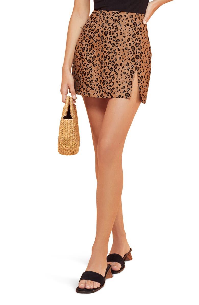 REFORMATION Cady Leopard Print Linen Miniskirt, Main, color, MINX