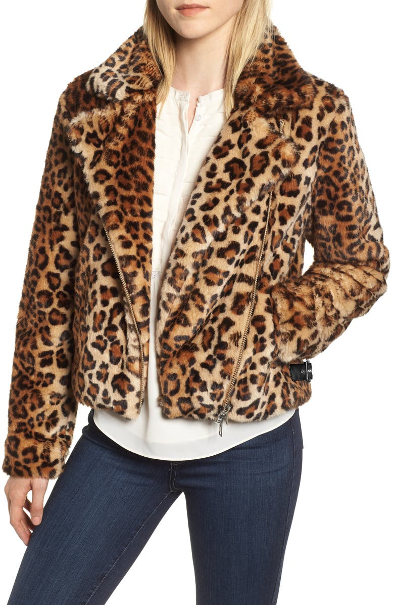 REBECCA MINKOFF Faux Fur Moto Jacket, Main, color, 001