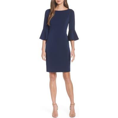 Harper Rose Bell Sleeve Bateau Neck Sheath Dress, Blue