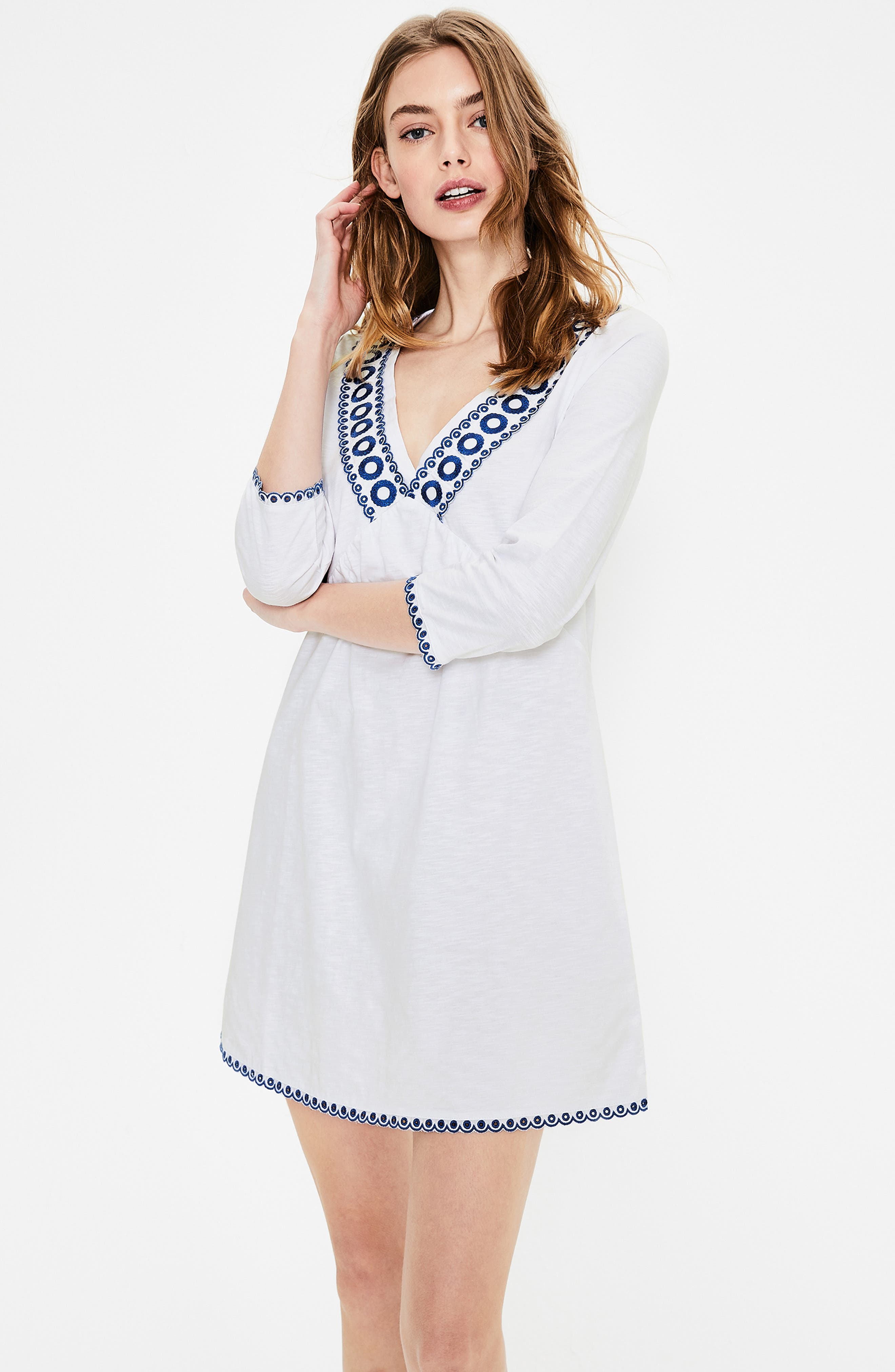 ,                             Rosanna Jersey Tunic,                             Alternate thumbnail 5, color,                             WHITE/ COBALT