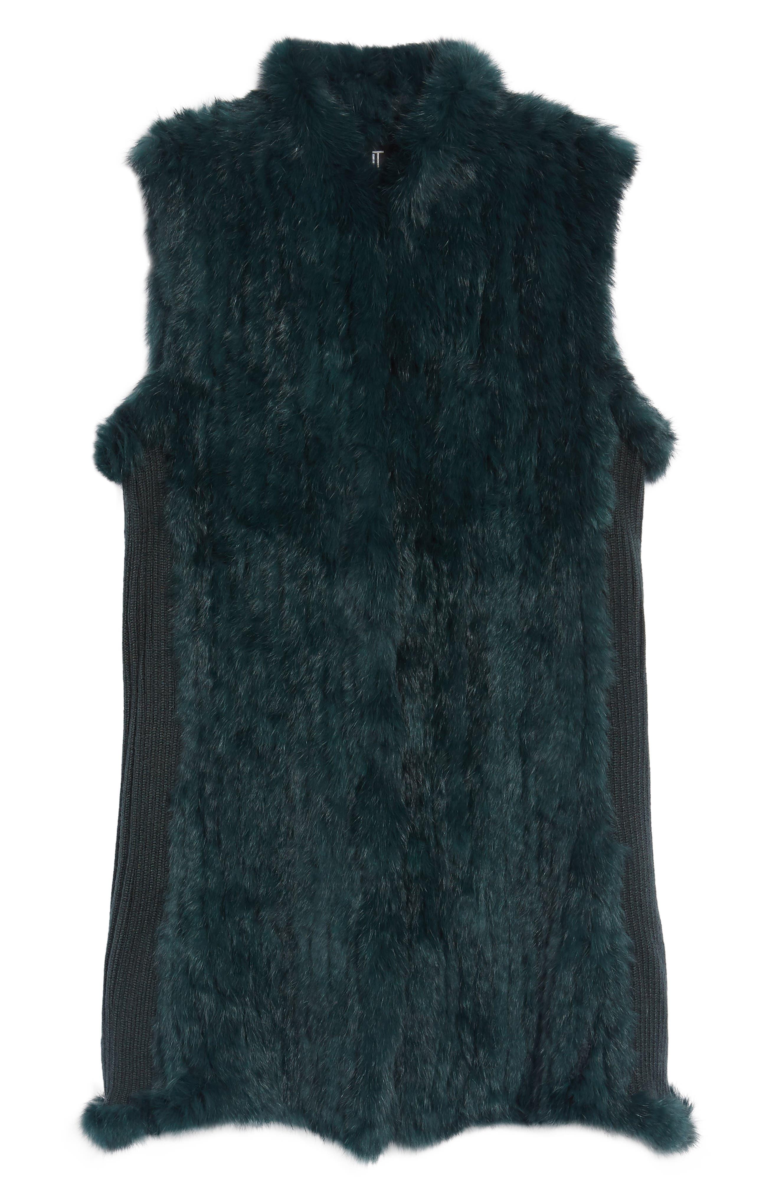 ,                             Genuine Rabbit Fur & Knit Vest,                             Alternate thumbnail 12, color,                             305