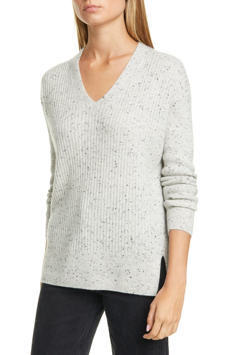 NORDSTROM SIGNATURE Cashmere Pullover, Main, color, GREY CLAY TWEED