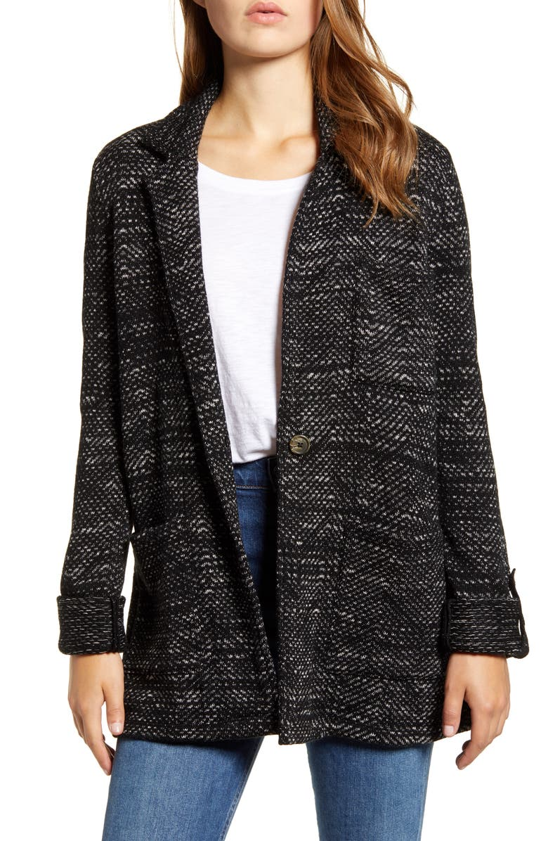 LUCKY BRAND French Jacquard Knit Work Coat, Main, color, 001