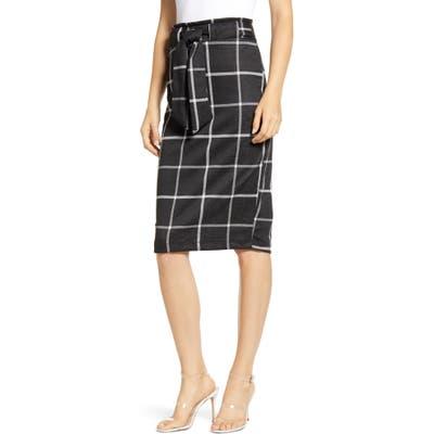 Sentimental Ny Glen Plaid Tie Waist Knit Pencil Skirt, Black