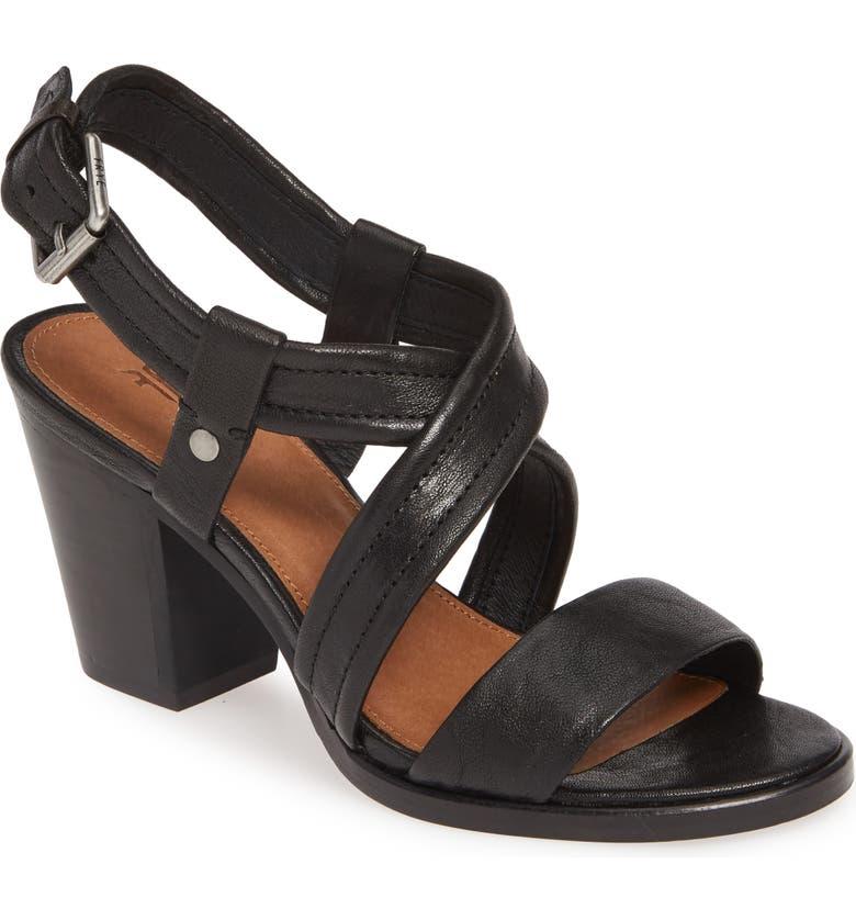 FRYE Dani Crisscross Sandal, Main, color, BLACK