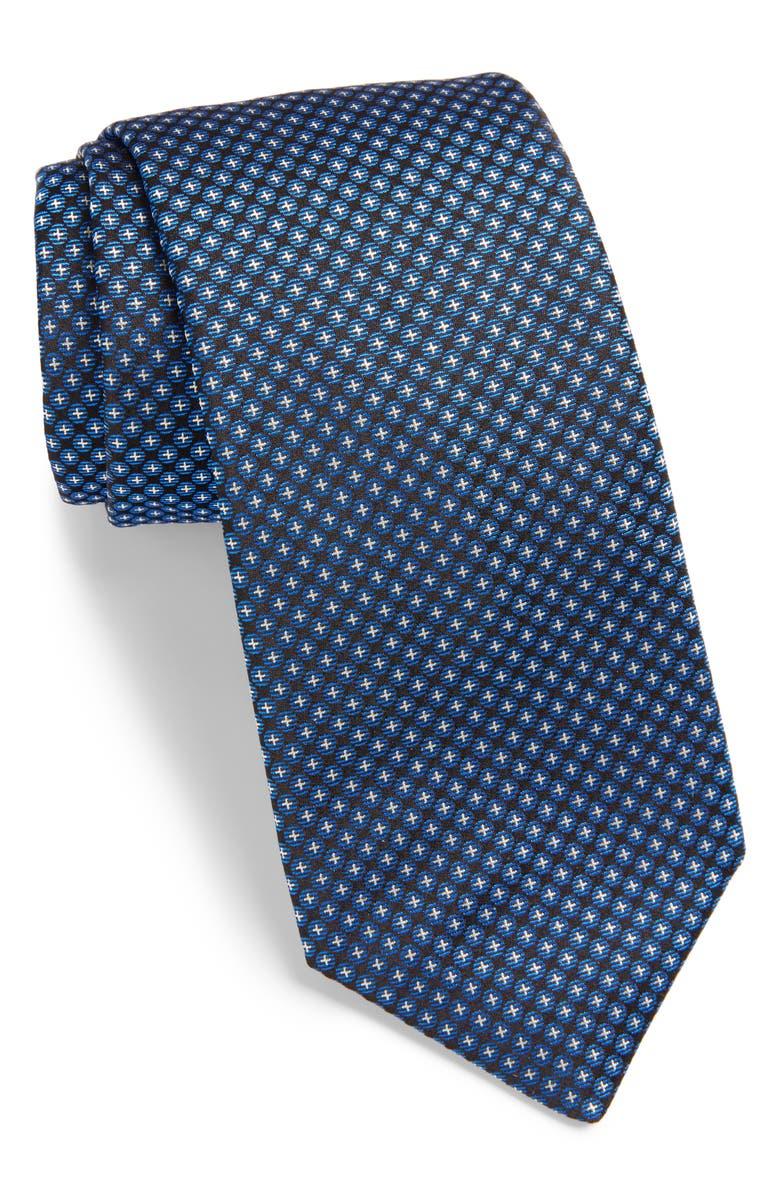 BOSS Geometric Silk Tie, Main, color, NAVY