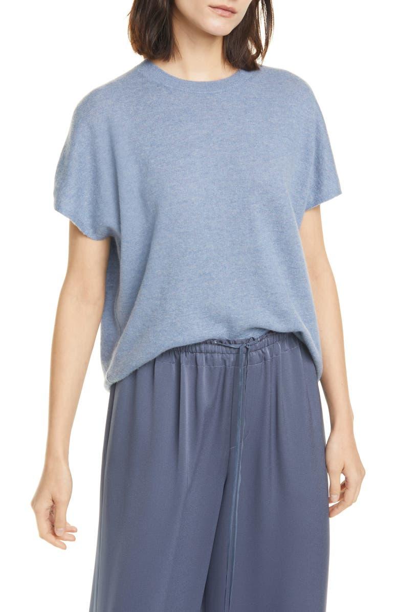 VINCE Cashmere & Linen Sweater, Main, color, HEATHER SKY GRAPHITE