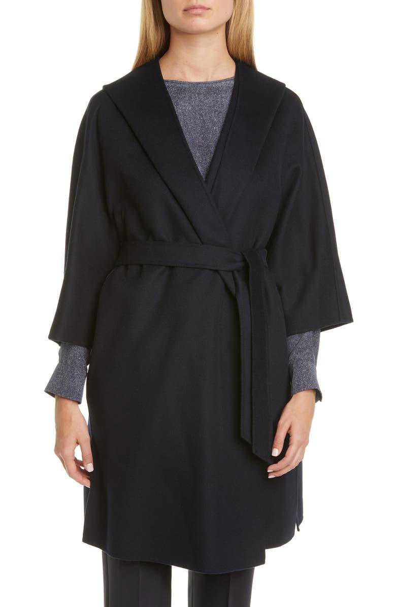 MAX MARA Vik Hooded Wool Blend Wrap Coat, Main, color, NAVY