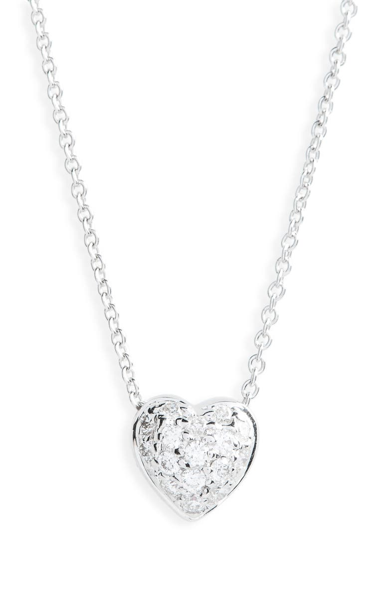 ROBERTO COIN Pavé Heart Pendant Necklace, Main, color, PUFFED HEART