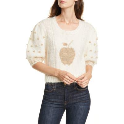 Loveshackfancy Cyrielle Mohair & Wool Blend Crop Sweater, Ivory