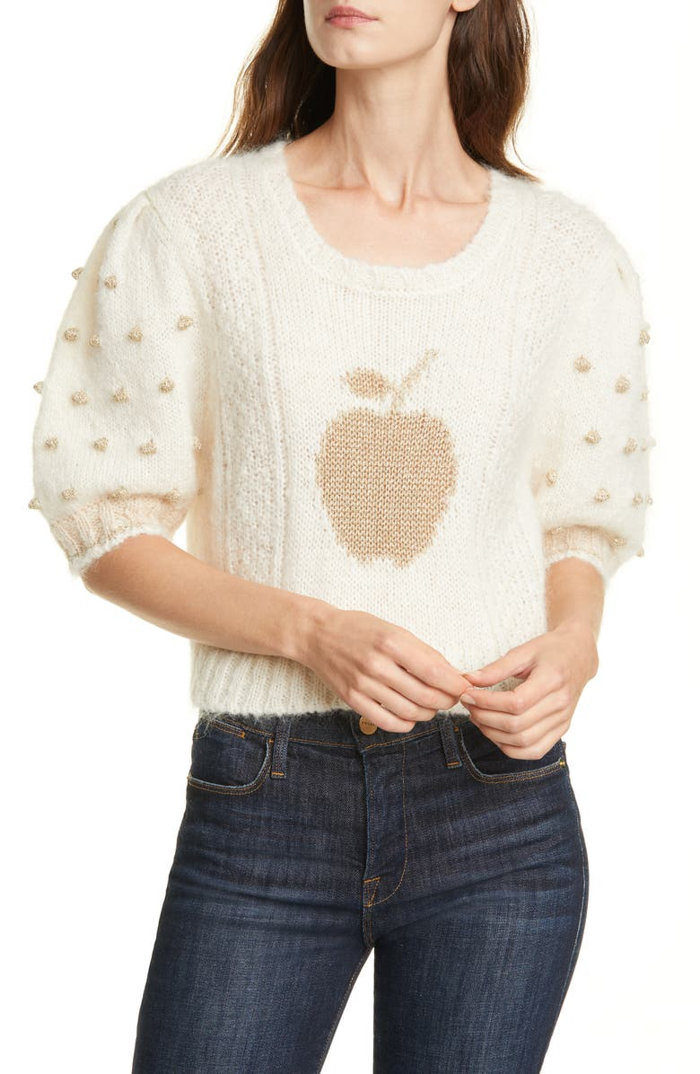 LOVESHACKFANCY Cyrielle Mohair & Wool Blend Crop Sweater, Main, color, 900