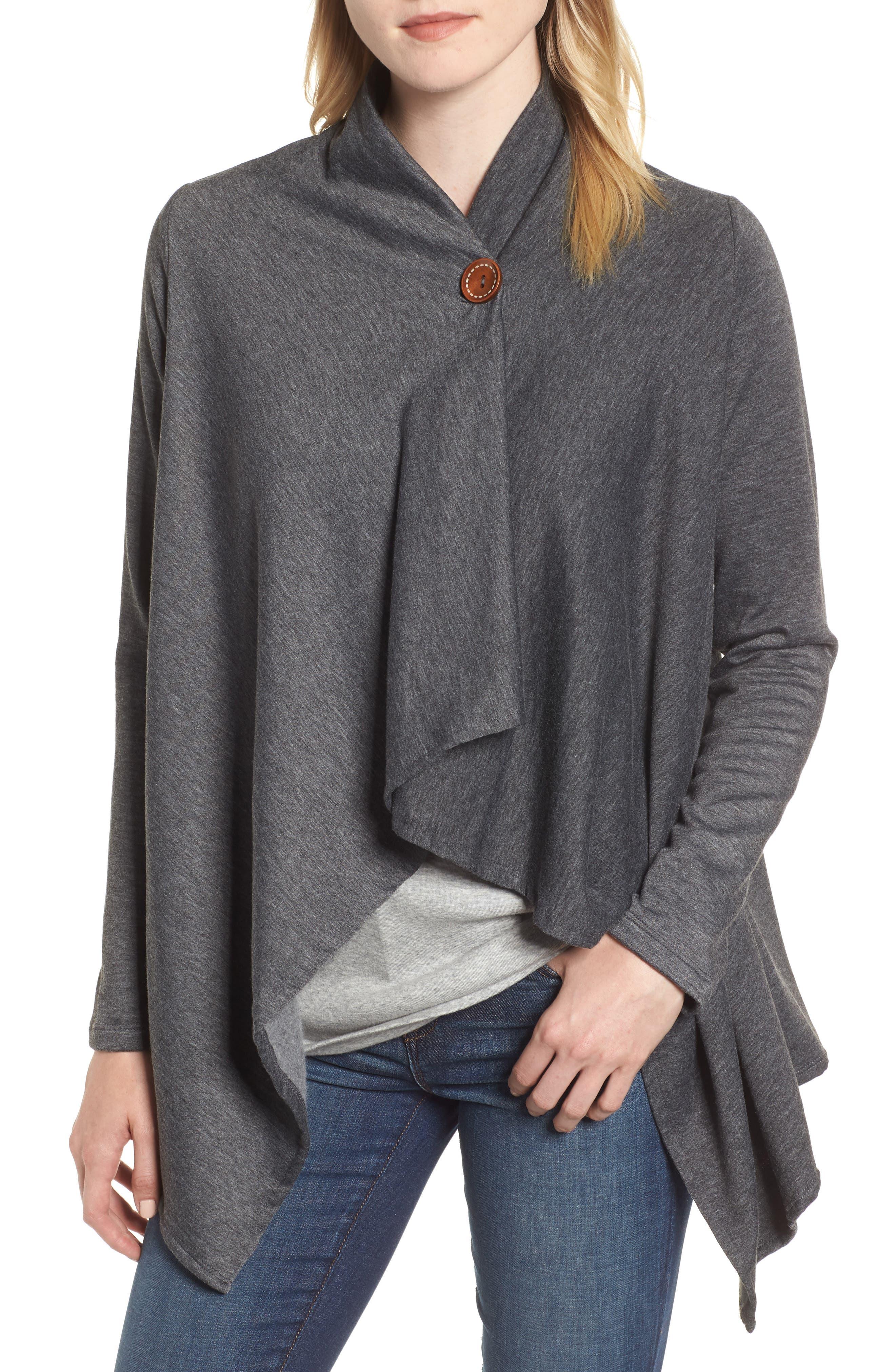 ,                             One-Button Fleece Wrap Cardigan,                             Main thumbnail 8, color,                             091