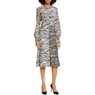A.l.c. Kennedy Long Sleeve Tiger Print Dress, White