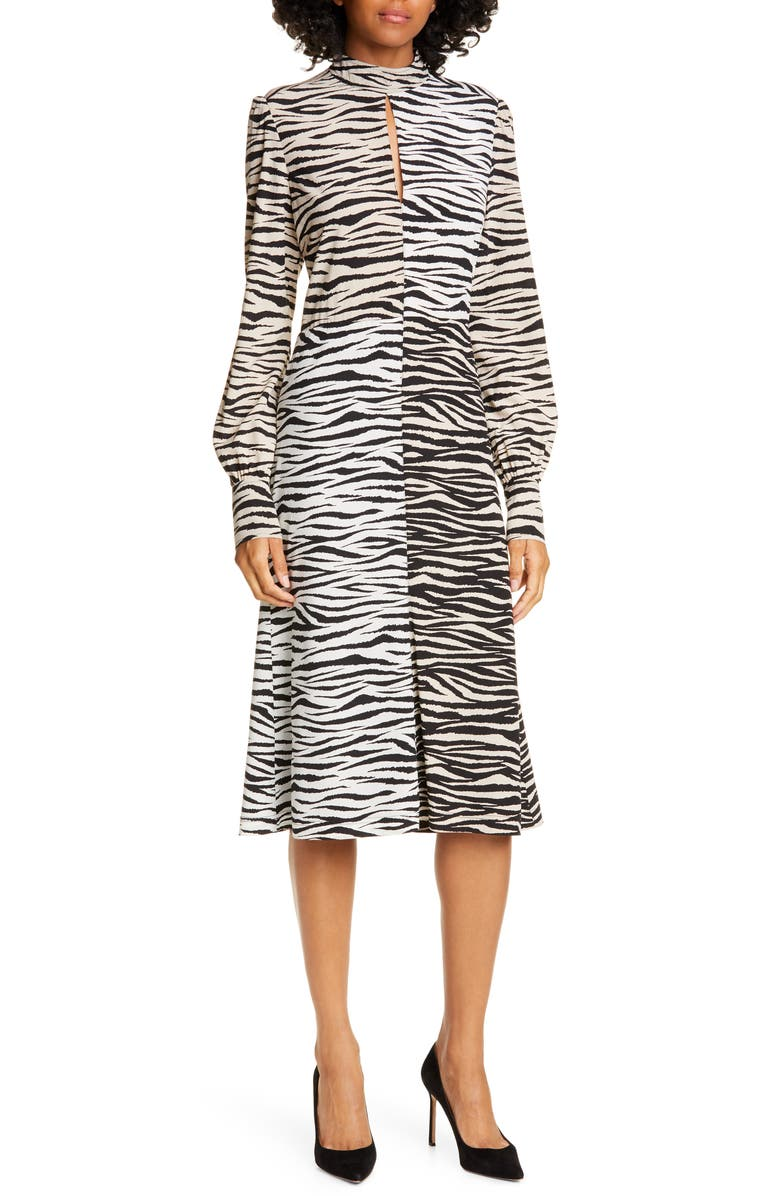 A.L.C. Kennedy Long Sleeve Tiger Print Dress, Main, color, WHITE/ BEIGE MULTI