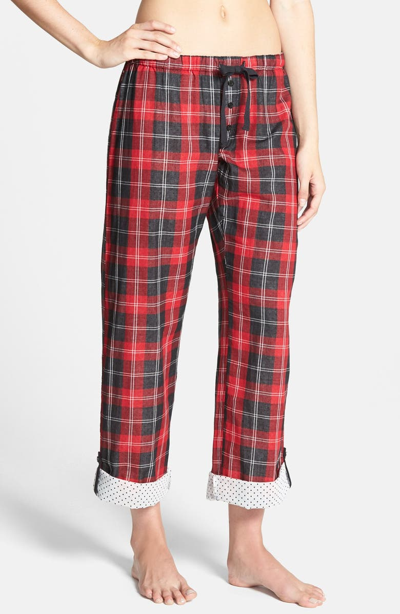 PJ SALVAGE 'Opposites Attract' Plaid Pants, Main, color, 600