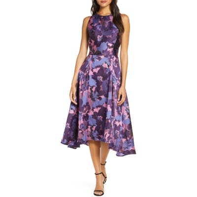 Tahari Mikado High/low Cocktail Dress, Purple