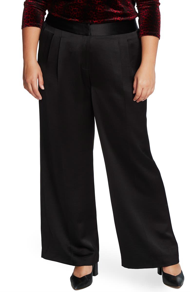 VINCE CAMUTO Wide Leg Satin Pants, Main, color, RICH BLACK