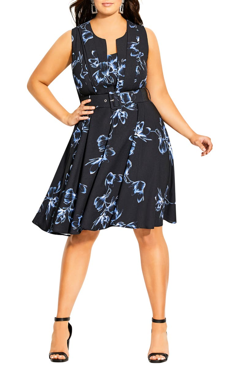 CITY CHIC Veronica Hiroto Fit & Flare Dress, Main, color, HIROTO FLORAL