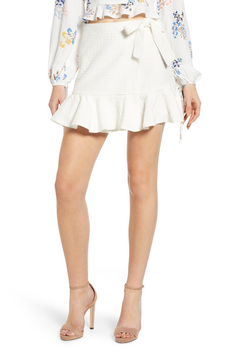 4SI3NNA Ruffle Wrap Miniskirt, Main, color, 100