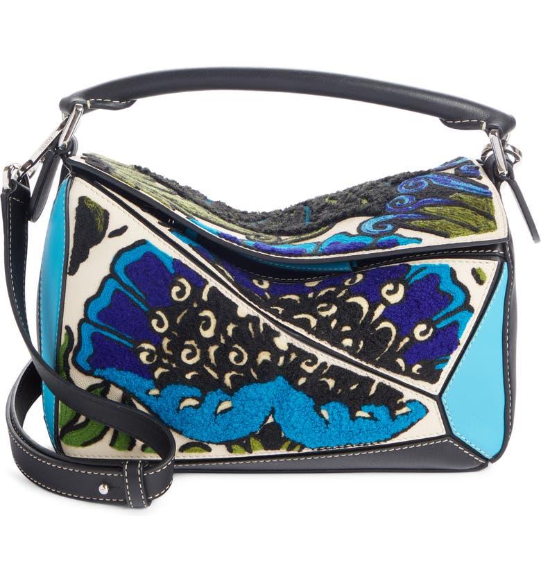 LOEWE Floral Mini Puzzle Leather Bag, Main, color, PEACOCK BLUE