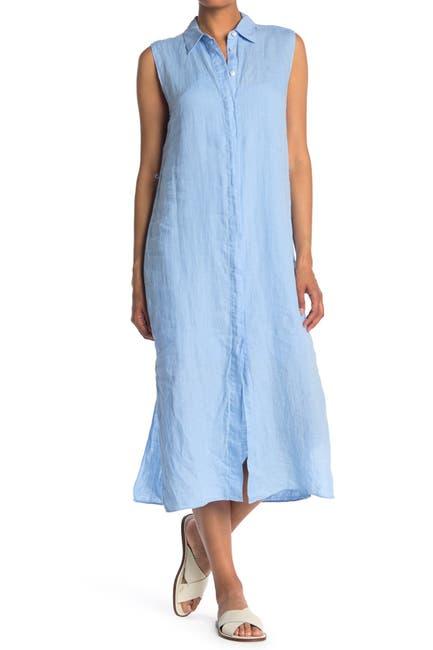 Image of Theory Sleeveless Linen Midi Shirt Dress