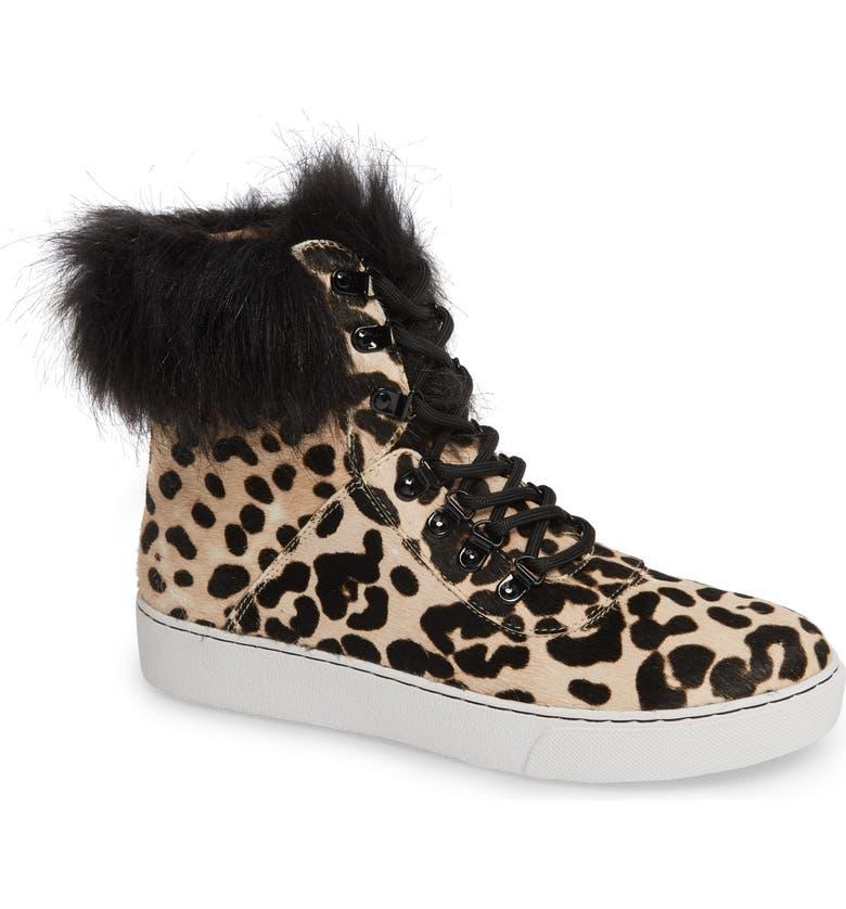 LINEA PAOLO Gigi II Genuine Calf Hair & Faux Fur High Top Sneaker, Main, color, WHITE/ BLACK LEOPARD CALF HAIR