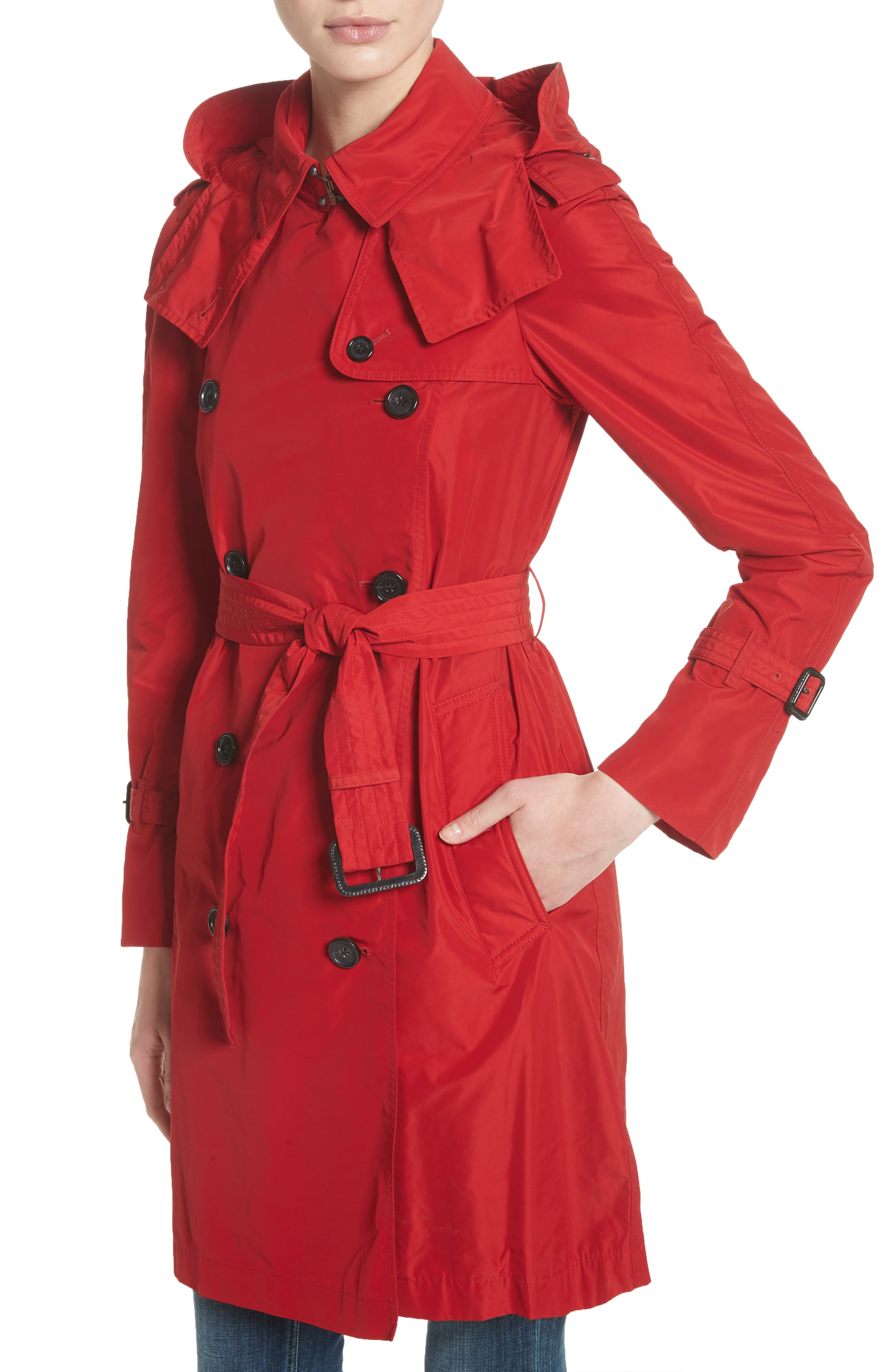 ,                             Amberford Taffeta Trench Coat with Detachable Hood,                             Alternate thumbnail 4, color,                             MILITARY RED