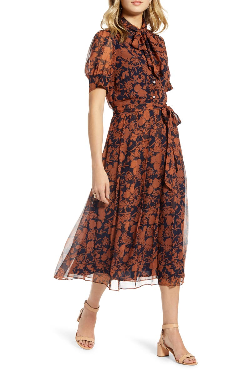 1901 Floral Print Button Front Pleated Chiffon Dress, Main, color, NAVY FLORAL
