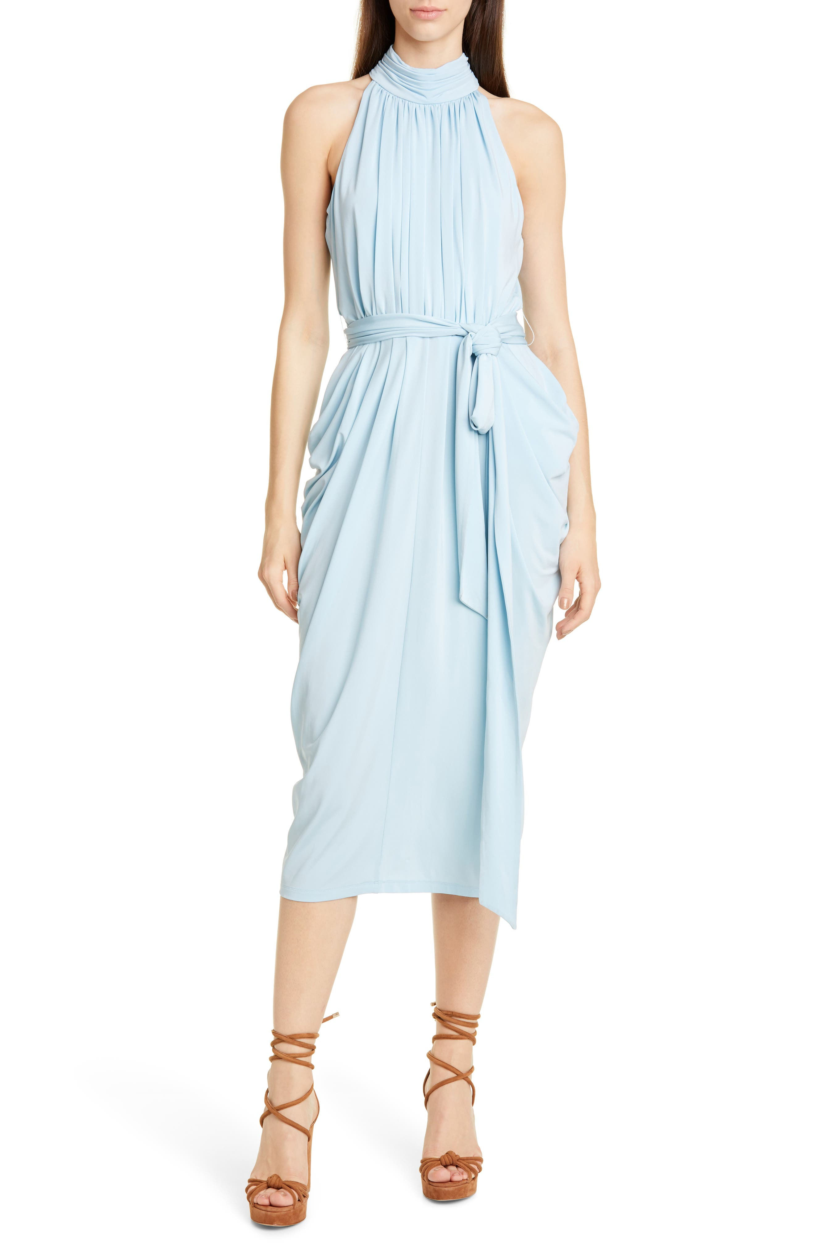 Tommy X Zendaya Halter Neck Drape Midi Dress, Blue