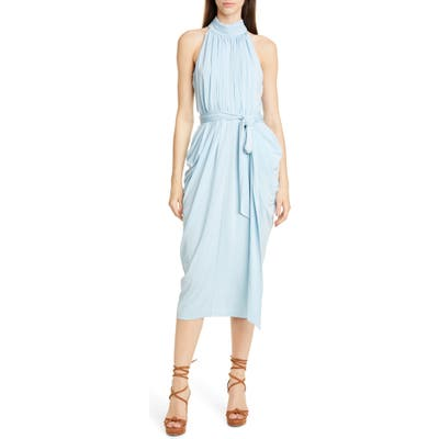 Tommy X Zendaya Halter Neck Drape Midi Dress, Blue