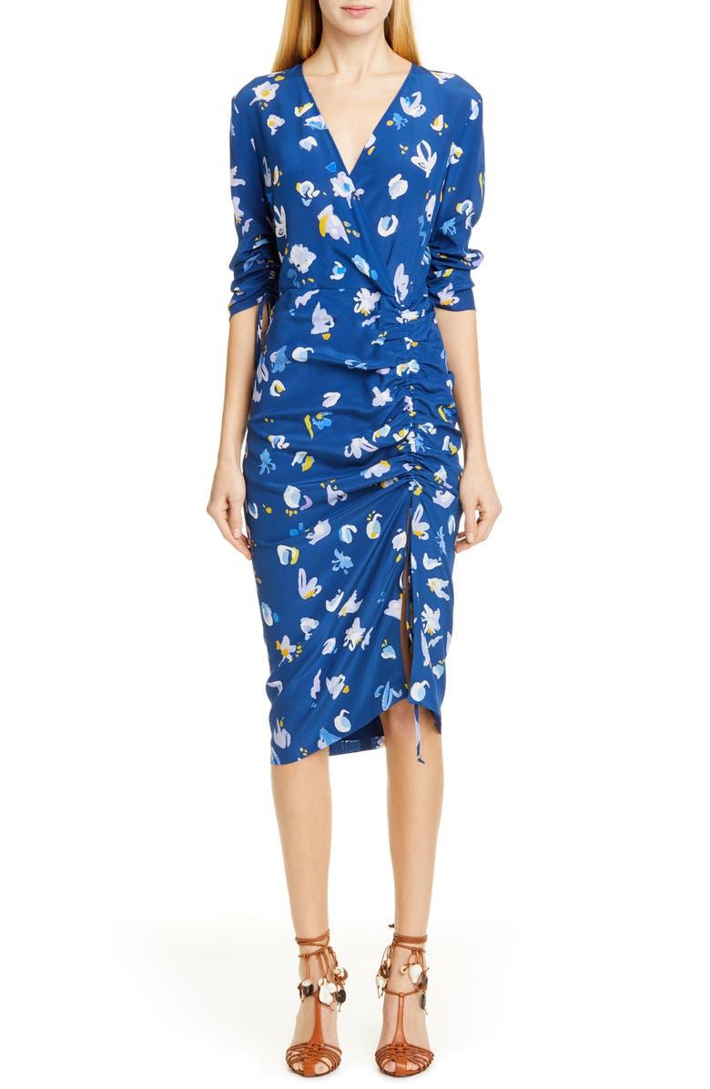 ALTUZARRA Print Ruched Silk Dress, Main, color, 411